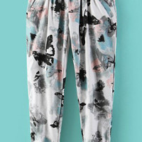 Elastic Waist  Butterfly Printed Pants