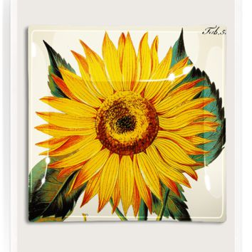 Sunflower Decoupage Glass Tray