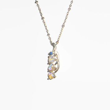Heart Shaped Natural Australian Crystal Opal Pendant & Necklace With Natural Blue Sapphire Gemstone  Sterling Silver .925
