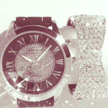 Elegant Black & Silver Watch Stacking Set
