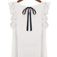 Tie-Back Ruffled Blouse