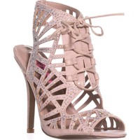 Betsey Johnson Lexxe Lace Up Rhinestone Sandals, Champagne, 6 US