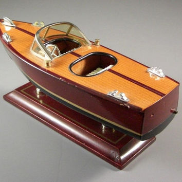 Scale Model Wooden Speed Boat // Dual Cockpit // Office Desk Table Top Decor // gift for Him