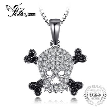 JewelryPalace Skull 0.2ct Genuine Spinel Pendant Necklace Pure 925 Sterling Silver Pendant Skeleton Jewelry Not Include A Chain