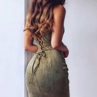 Suede Fashion Hollow Out Summer Solid Bodycon Midi Dress