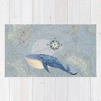 Nautical Whale and Map - mat for a travel or map bathroom, ideas, redecorate, coastal, cottage, decor,  shower
