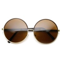 Womens Oversized Two-Tone Glam Metal Circle Round Sunglasses