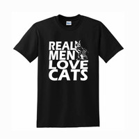 real men love cat For T-Shirt Unisex Aduls size S-2XL