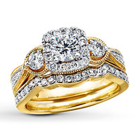Diamond Bridal Set 1 1/8 ct tw Round-cut 14K Yellow Gold