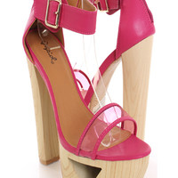 Fuchsia Wooden Open Toe Heels