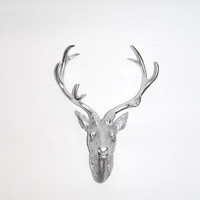 White Faux Taxidermy - Faux Deer Head - Faux Taxidermy - The Eloise in Chrome - Chrome Resin Deer Head- Chrome Deer Antlers Mounted