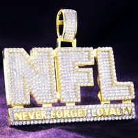 NFL Never Forget Loyalty Silver IcedOut Double Layer Pendant