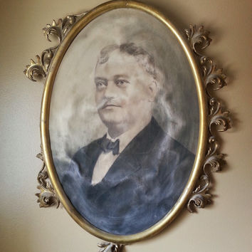 Antique Oval Metal Gold Gilt Frame Project Piece