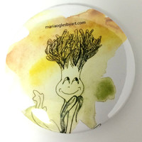 Happy Young Dandelion Watercolor and Pen Pin-On Button, Cute Smiling Baby Dandelion Original Art  Collectable Button, Original Artwork
