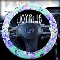 Steering Wheel Cover Plum Posy Orchid w/ Matching Keychain Option - Tula Purple and Turquoise Amy Butler Present for Girls Car Accessories