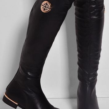 Madonna Black Faux Leather Knee High Boots | Pink Boutique