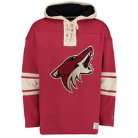 Men's Arizona Coyotes Old Time Hockey Garnet Lacer Heavyweight Pullover Hoodie