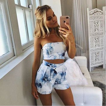 2 piece cotton spandex blend tube top & short set