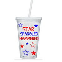4th Of July Tumbler, Star Spangle Hammered Tumbler, Independence Day Tumbler, Patriotic