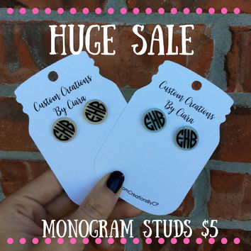 Monogrammed Earrings, Monogram Stud Earrings, Personalized Earrings, Custom Earrings, Monogram, Gift, Glitter Earrings