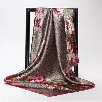 STYLEDOME Flower Print Silk Large Square Scarves For Ladies  90cm
