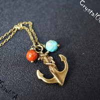 Retro bronze jasper turquoise anchor necklace delicate bronze stone mineral necklace dainty anchor boho jasper turquoise chakra necklace