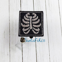 Xray ID Badge - Embroidered Felt Badge Reel - Retractable ID Badge Holder - Badge Reel Clip - Medical Badge