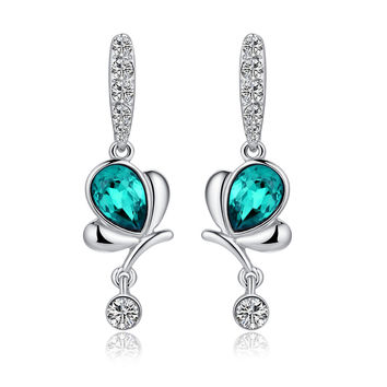 Butterfly Teardrop Crystal and Sparkle Rhinestone Earrings - Blue Green