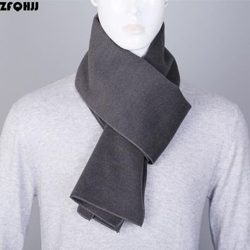 ZFQHJJ 2017 Newest Fashion High Quality Solid Plain Business Casual Scarves Winter Warm Mens Cashmere Scarf Luxury Brand180x30cm