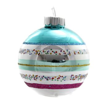 Shiny Brite VC ROUNDS Glass Ornament 4027638S Teal