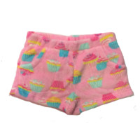 Candy Pink Girl's Super Soft Fleece Shorts Cupcakes