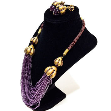 Vintage Miriam Haskell Necklace and Earrings Demi Set, Amethyst Seed Bead Torsade, Art Glass, Goldtone, Signed, 1960s