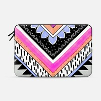 "Hot Pink/Coral/Periwinkle Tribal Chevron Macbook 12"" sleeve by M I C H I K O 