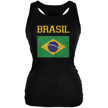 World Cup Distressed Flag Brasil Black Juniors Soft Tank Top