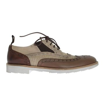 Dolce & Gabbana Brown Beige Leather Wingtip Shoes
