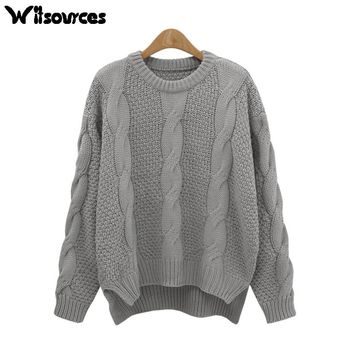Witsources women loose plus size sweaters autumn long sleeve twisted knitted casual sweater pulloovers SW2483
