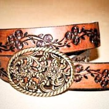 Handcrafted Leather Belt with Tooled Flower 70's Retro Design (Solid Leather and no stitching)