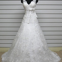 A-Line Cathedral Train Spaghetti Straps Lace Wedding Dress Bridal Gown Bridesmaid Dress Evening Prom Dress