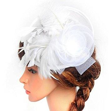 Lanzom Fascinator Hat Flower Feather Mesh Hat Party Bridal Wedding Derby Hat with Clip for Women Lady