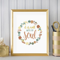 """It Is Well With My Soul DIGITAL DOWNLOAD 8"""" x 10"""" Printable Hymn Scripture Bible Verse Religious Home Decor Wall Art"""