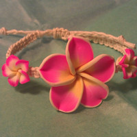 Hot Pink, White and Yellow Plumeria Natural Hemp Bracelet