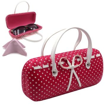 Hard Eyeglass Case with handles,  mini Accessories Case w/cloth (AS12TG S.D Pink)