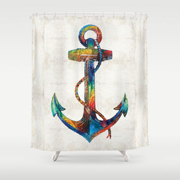 Nautical Anchor Art - Anchors Aweigh - By Sharon Cummings Shower Curtain by Sharon Cummings