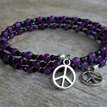 "Plus Size Elegance Purple for Peace Glass Bead & Crystal Beaded Adjustable Memory Wire Wrap Bracelet, May 16th Purple for Peace Day, XL-XXL(fits 8""-9.5"")"