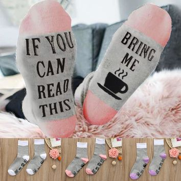 If You Can Read This Bring Me Coffee Funny Socks Crew, Unisex