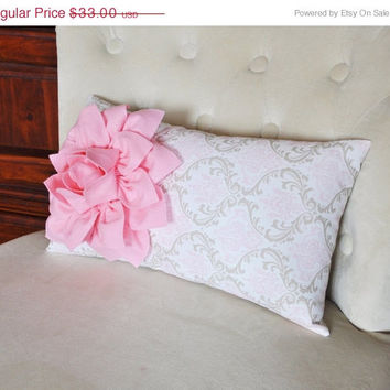 MOTHERS DAY SALE Light Pink Dahlia on Pink Taupe Damask Pillow Lumbar Pillow 9 x 16 Baby Nursery Decor