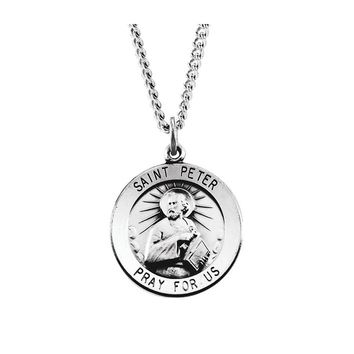Sterling Silver 22mm Saint Peter Medal Necklace, 24 Inch