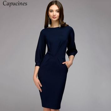Capucines Elegant Ruched Draped Office Lady Bodycon Dresses Women Autumn Solid 3/4 Sleeve Pencil Dress Lantern Sleeve OL Dress