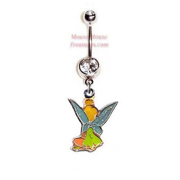 Disney Tinkerbell Belly Ring. Authentic Double Sided Charm on Your Choice of Gemstone Color! Quality at a reasonable price!