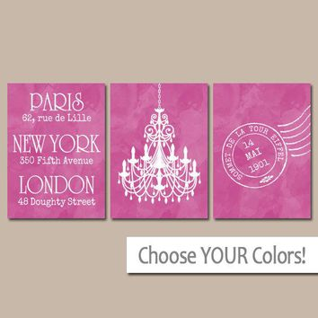 Paris London New York Wall Art,Watercolor Chandelier Bedroom Pictures,CANVAS or Print,Paris Travel Theme,Bathroom Vanity Room Decor,Set of 3